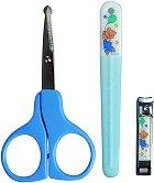 Принадлежности за поддържане за ноктите: Blue - Комплект от пила, ножица и нокторезачка -