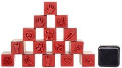 Гумени печати - Бебе - Комплект от 15 печата и мастило - продукт