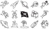 Гумени печати - Пирати и космонавти - Комплект от 15 печата и мастило - продукт