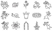 Гумени печати - Принцеси и феи - Комплект от 15 печата и мастило - продукт