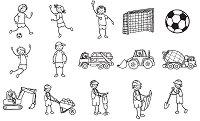 Гумени печати - Футбол и строителство - Комплект от 15 печата и мастило -
