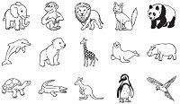Гумени печати - Зоопарк - Комплект от 15 печата и мастило -