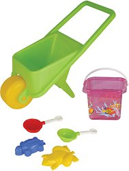 Комплект за игра с пясък - В ръчна количка - играчка