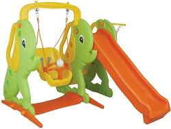 Детска пързалка с люлка и баскетболен кош - Слонче - Комплект с топка - играчка