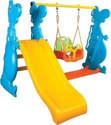 Детска пързалка с люлка - Динозавър - играчка