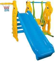 Детска пързалка с люлка и баскетболен кош - Зайче - Комплект с топка - играчка