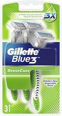 """Gillette Blue 3 Sense Care - Самобръсначки в опаковка от 3 броя от серията """"Blue 3"""" - шампоан"""