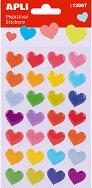 Стикери от филц - Цветни сърца - Комплект от 24 броя