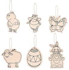 Дървени фигурки - Великден - Комплект от 6 броя за декориране