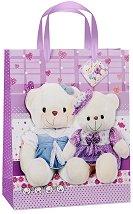 Торбичка за подарък - Мечета на лилав фон - играчка