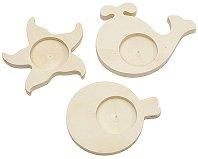 Поставки за чаени свещички - Море - Комплект от 3 броя за декориране