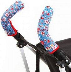 Покритие за дръжки на детска количка - Double Bar: French Flowers - Комплект от 2 броя -