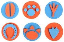 Печати за длан - Животински стъпки - Комплект от 6 печата -