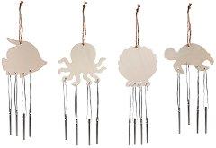 Mорски звънчета - Комплект от 4 броя за декориране от MDF