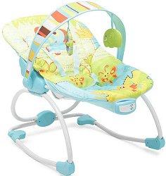 Бебешки шезлонг - Merry: Blue - С вибрация и мелодии -