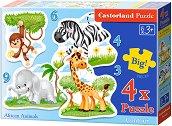 Африкански животни - Четири пъзела с едри елементи за най-малките - пъзел