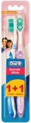 Oral-B Delicate White - Medium - Четка за зъби 1 + 1 подарък - мокри кърпички