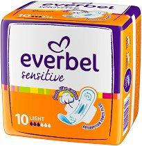 Дамски превръзки с крилца - Everbel Sensitive Light - Опаковка от 10 броя - четка