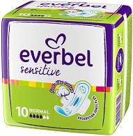 Дамски превръзки с крилца - Everbel Sensitive Normal - Опаковки от 10 ÷ 20 броя - душ гел