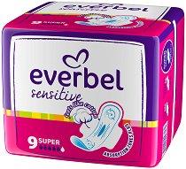 Дамски превръзки с крилца - Everbel Sensitive Super - Опаковка от 9 броя -