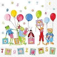 Салфетки за декупаж - Животни с балони - Пакет от 20 броя