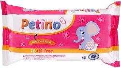 Бебешки мокри кърпи с алантоин - Petino - Опаковка от 72 + 12 броя подарък - сапун