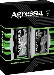 """Подаръчен комплект за тяло за мъже - Душ гел и дезодорант от серията """"Agressia Men Fresh"""" - фон дьо тен"""