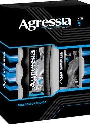 """Подаръчен комплект за тяло за мъже - Душ гел и дезодорант, от серията """"Agressia Men Sensitive"""" -"""
