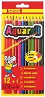 Акварелни цветни моливи - Комплект от 12 броя и четка