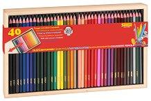 Цветни моливи в дървена кутия