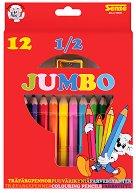 Къси цветни моливи - Jumbo - Комплект от 12 броя