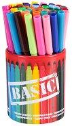 Цветни флумастери с моливник - Jumbo Basic - Комплект от 42 броя