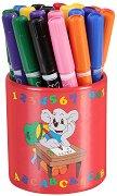 Цветни флумастери с моливник - Комплект от 24 броя