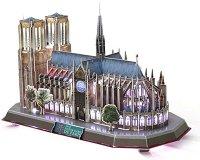Катедралата Нотр Дам, Париж - Светещ 3D пъзел -