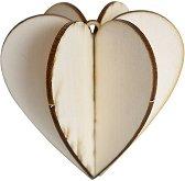 Сглобяема фигурка от шперплат - Сърце - Предмет за декориране с размери 8.1 x 7.5 cm