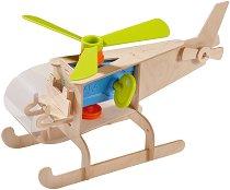 Хеликоптер - Детска сглобяема играчка от дърво с въртяща се перка -