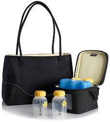 Чанта за помпа за кърма - City Style - Комплект с хладилна чанта и контейнери за кърма -