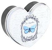 Метална кутийка за съхранение на мъниста - Сърце - Размери 9 x 8 cm