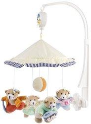 Музикална въртележка - Girly Bears Under Umbrella - Играчка за бебешко креватче -