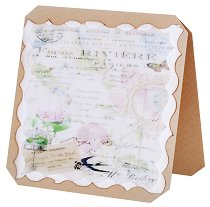 Поздравителна картичка - Лястовица и цветя -