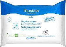 Mustela Bebe Facial Cleansing Cloths - Почистващи бебешки кърпички за лице в опаковка от 25 броя - мокри кърпички