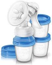 """Механична помпа за изцеждане на кърма - Comfort - Комплект от серията """"Via"""" с  чаши по 180 ml и аксесоари -"""