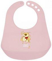 Розов бебешки лигавник с PVC джоб - За бебета над 12 месеца -
