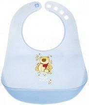 Син бебешки лигавник с PVC джоб - За бебета над 12 месеца -