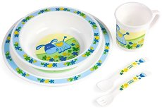 Детски комплект за хранене - Магаренце - За бебета над 12 месеца - чаша