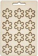 Фигурки от шперплат - Снежинки - Комплект от 12 броя с размери 2.5 x 2.7 cm