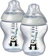 Розови бебешки шишета за хранене - Closer to Nature: Easi Vent 260 ml - Комплект от 2 броя със силиконов биберон за новородени -