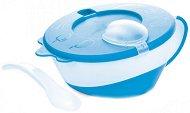 Синя купа за храна с капак и лъжица - 350 ml - За бебета над 9 месеца - купичка