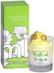 Bomb Cosmetics Festival Dream Piped Candle - Свещ в стъклена чаша с аромат на горски плодове и череша -