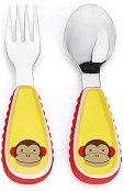 """Метални прибори за хранене - Маймунка - Комплект от вилица и лъжица от серията """"Zoo"""" - прибори"""